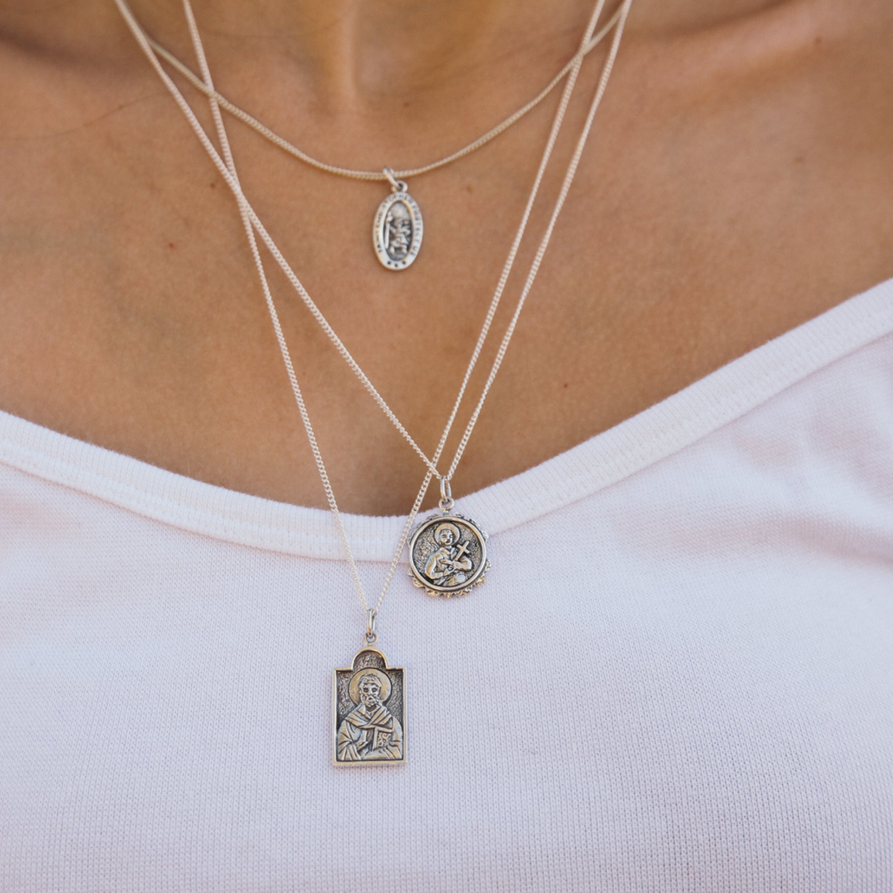 La Luna Rose Patron Saint Necklace Pendant from Recycled Sterling Silver