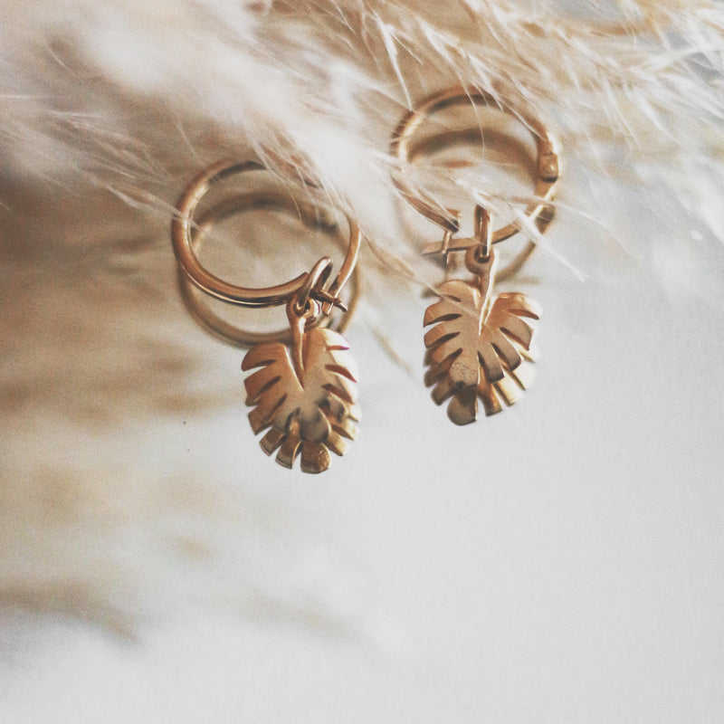 La Luna Rose Gold Tube Hoops with Monstera Leaf Charms