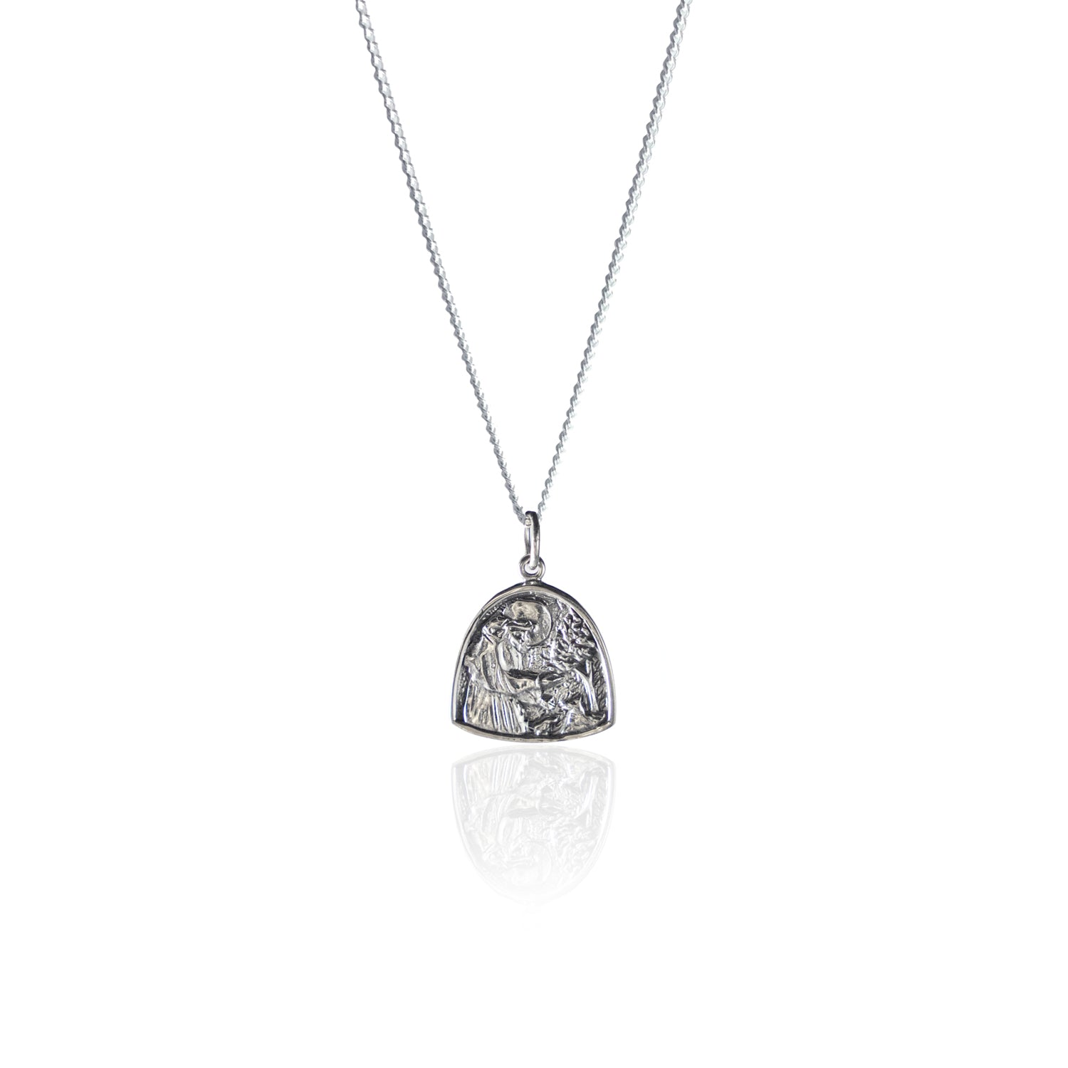 St Assisi - Patron Saint of Animals & the Environment Necklace - Silver