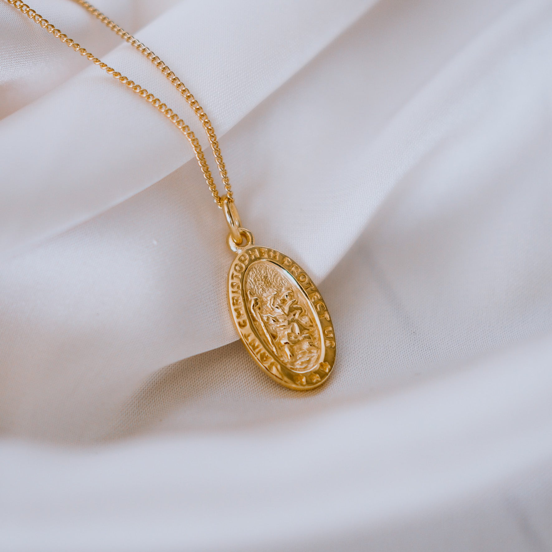SOLID GOLD - St Christopher the Patron of Travel Charm Necklace