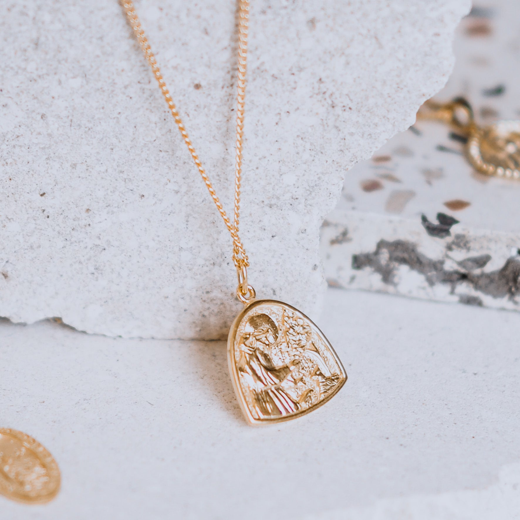 SOLID GOLD - St Assisi - Patron Saint of Animals & the Environment Necklace