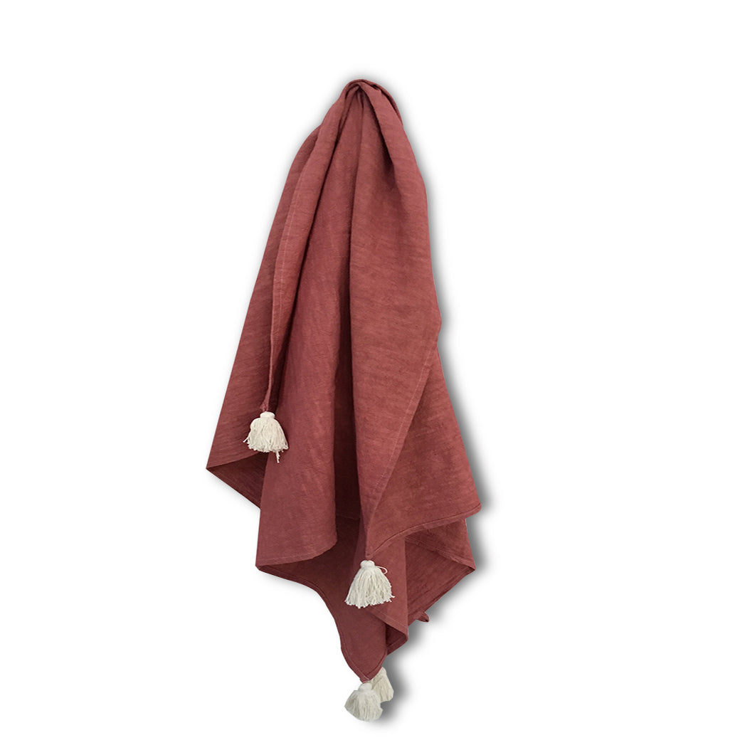 Island Store Organic Dyed Tilly Towel Deep Beetroot Red Colour