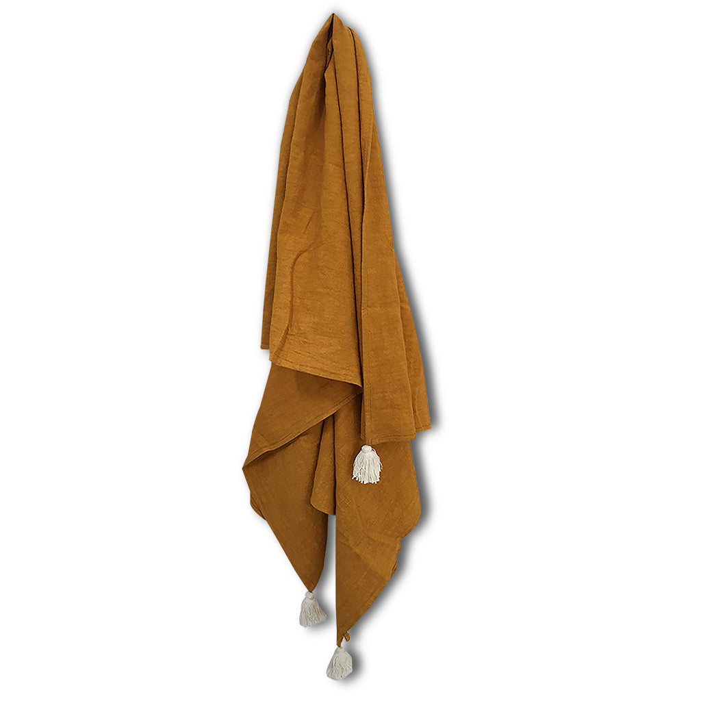 Organic Dyed Desert Ginger Towel with Tassels by La Luna Rose