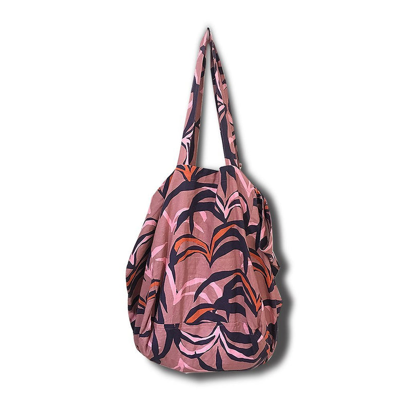 LENI LINEN TOTE BAG - PENIDA PALM PRINT (BLUSH)
