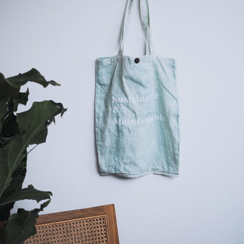 W/S - 'SUSTAINABLE & MAINTAINABLE' Organic dyed Tote Bag - Ice