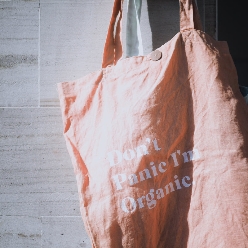 W/S - 'DON'T PANIC I'M ORGANIC' Organic dyed Tote Bag - Coral