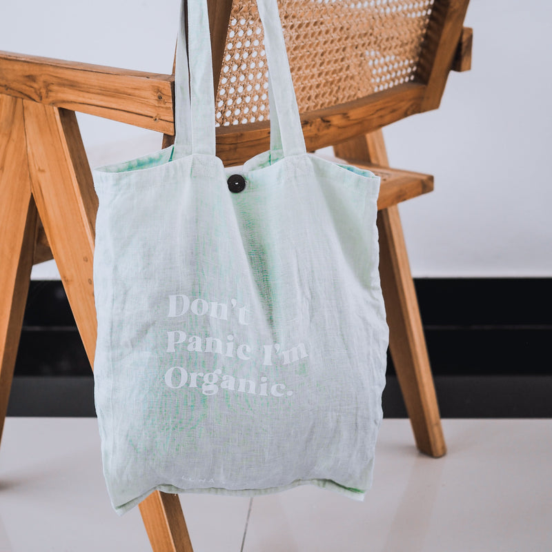 'DON'T PANIC I'M ORGANIC' Organic dyed Tote Bag - Ice