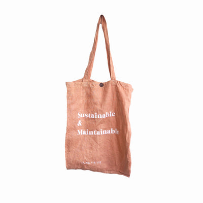 'SUSTAINABLE & MAINTAINABLE' Organic dyed Tote Bag - Coral