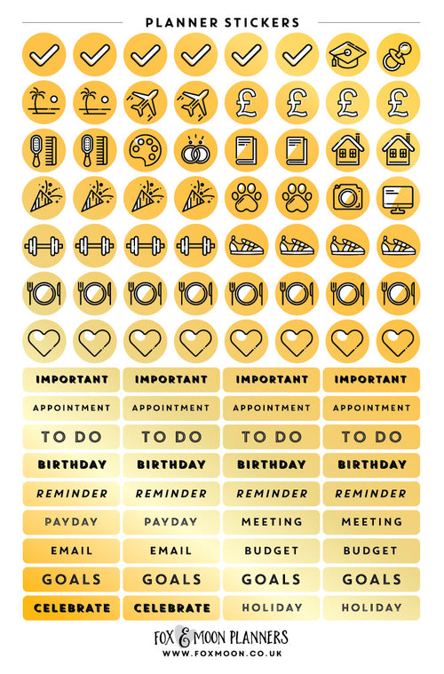 Gold Planning Stickers