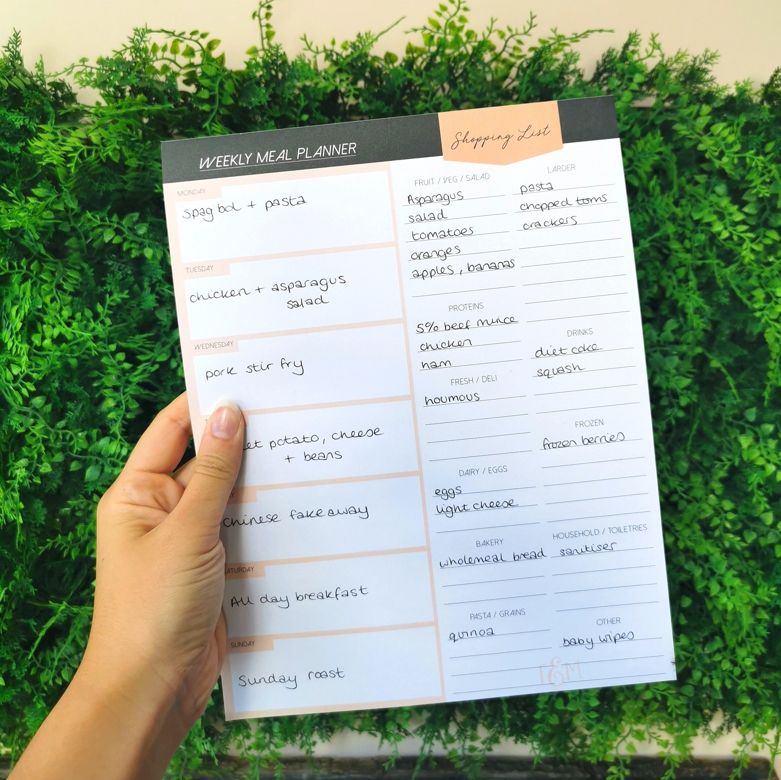 Magnetic Fridge Meal Planner
