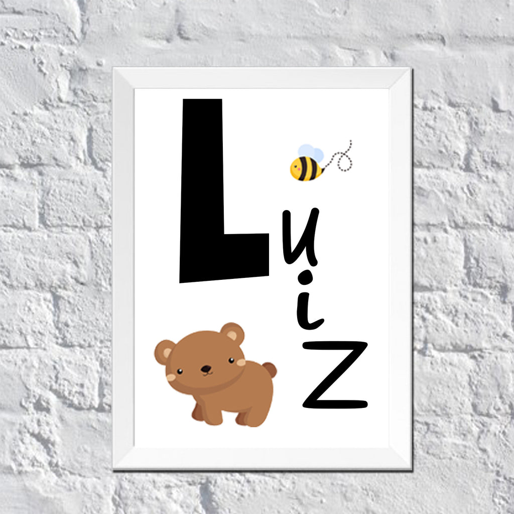 Personalized Wall Art : Baby Bear And Bee Childu0027s Name