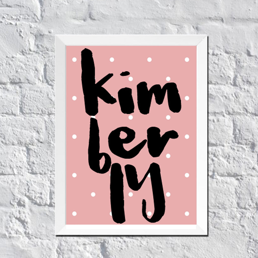 Personalized Wall Art : White Polka Dots With Name