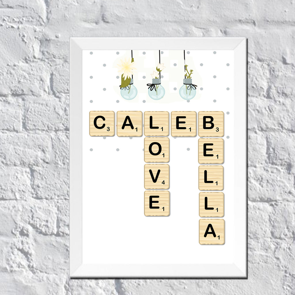 Scrabble Names Wall Art Personalized Wall Art Scrabble Couple Names Dots And Polka