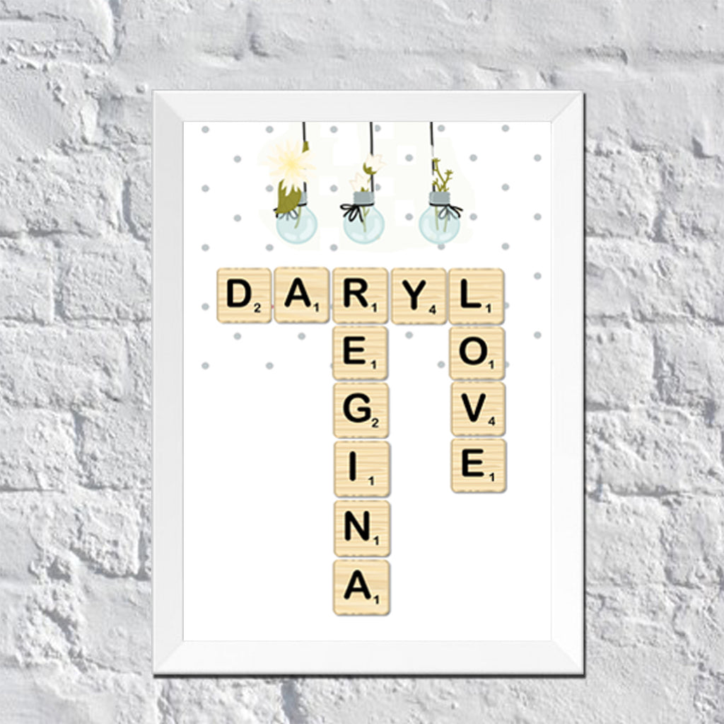 Personalized Wall Art Scrabble Couple Names