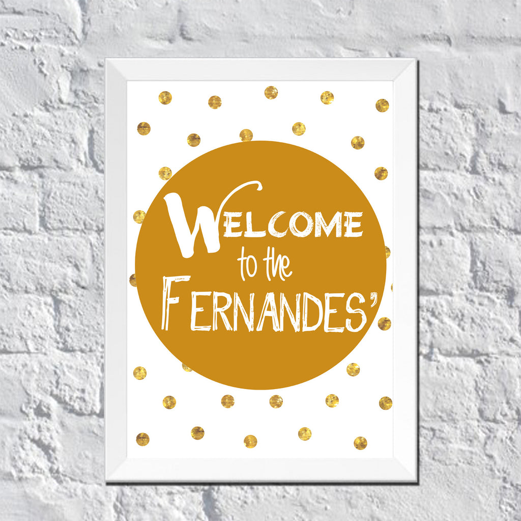 Personalized Welcome to the Family Gold Polka Dots Wall Art – DOTS ...