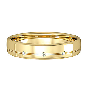 Bombe Court Wedding Ring, with three diamonds and line detail - Hallmark Goldsmiths
