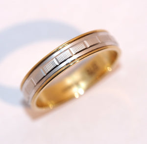 Two Colour Engraved Detail Pattern Wedding Ring - Hallmark Goldsmiths