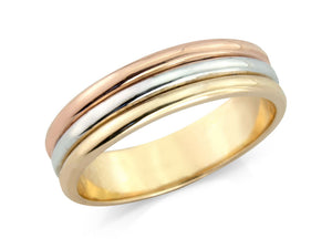 Three Colour, Rose, White and Yellow Wedding Band - Hallmark Goldsmiths