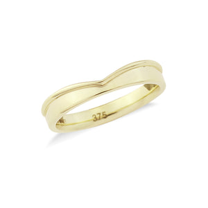 Wishbone or Shaped Wedding Band with Flat Edge - Hallmark Goldsmiths