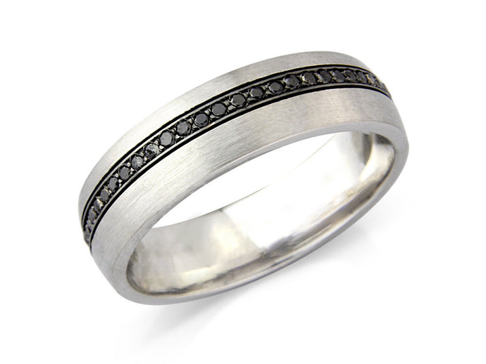 Black Diamond Striped Wedding Band - Hallmark Goldsmiths