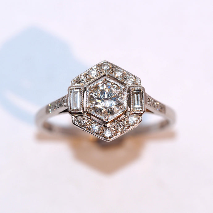 Art Deco Geometric Diamond Cluster Ring - Hallmark Goldsmiths - 1