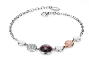 SWEETNESS AND LIGHT - Cabochon Amethyst, Rose Quartz and Cubic Zirconia Silver Bracelet - Hallmark Goldsmiths