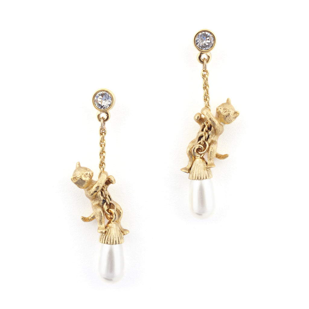 Kitten Pearl Drop Earrings