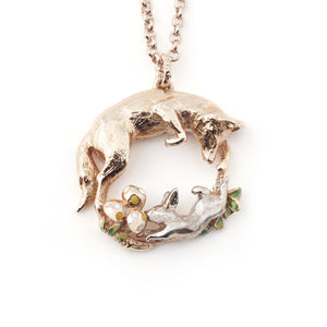 Fox and Rabbit Pendant with mushroom detail