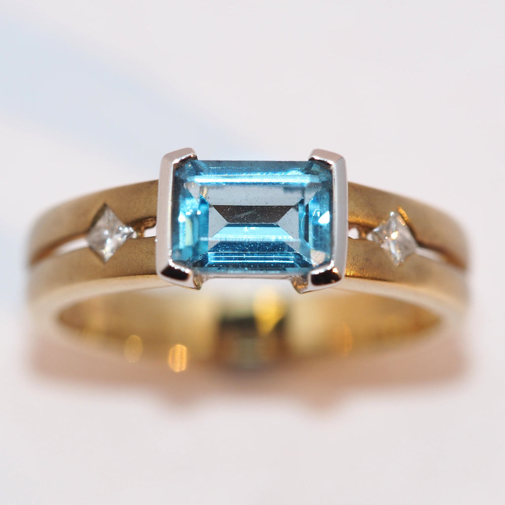 Blue Topaz and Diamond Contemporary Ring - Hallmark Goldsmiths - 1