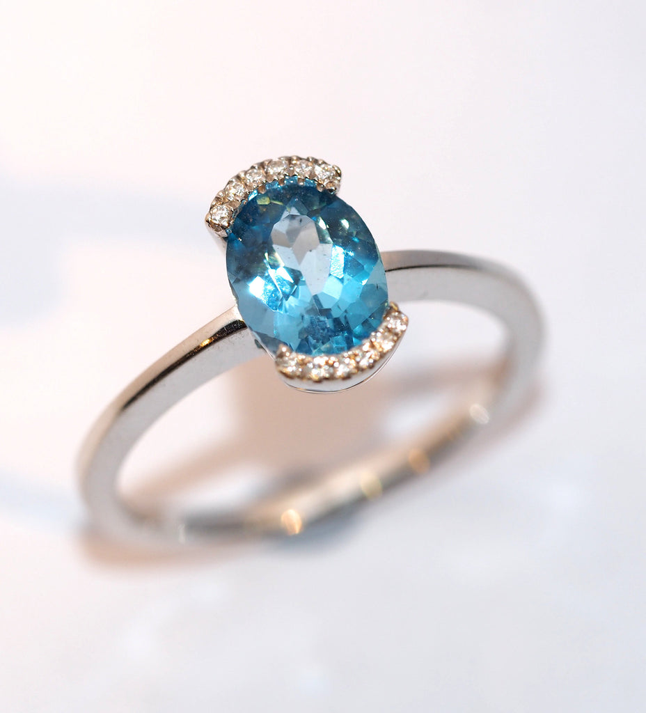 Blue Topaz and Diamond Ring - Hallmark Goldsmiths