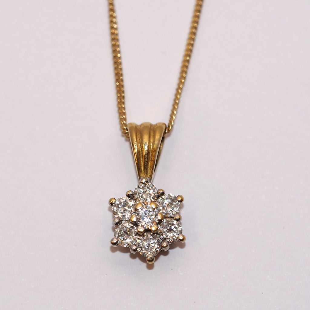 Diamond Flower Cluster Pendant 0.50ct