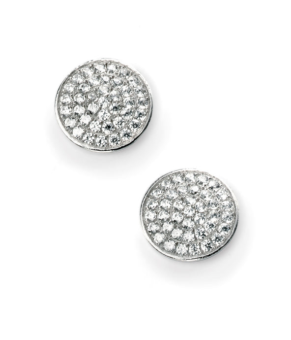 Clear Pave Set Round Stud Earrings