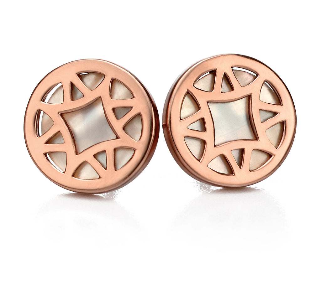 FULL BLOOM - Geometric Mother of Pearl Studs - Hallmark Goldsmiths