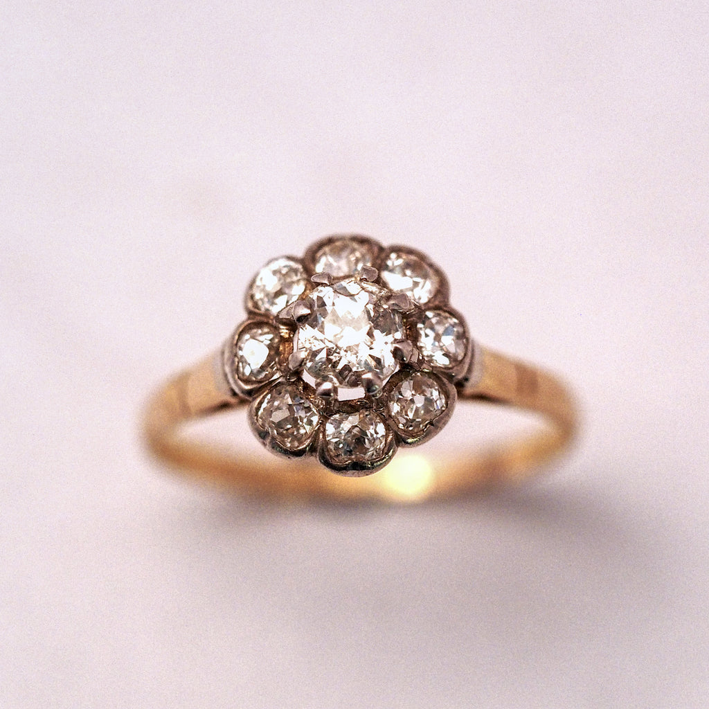 Old Cut Diamond Flower Rose Gold Cluster