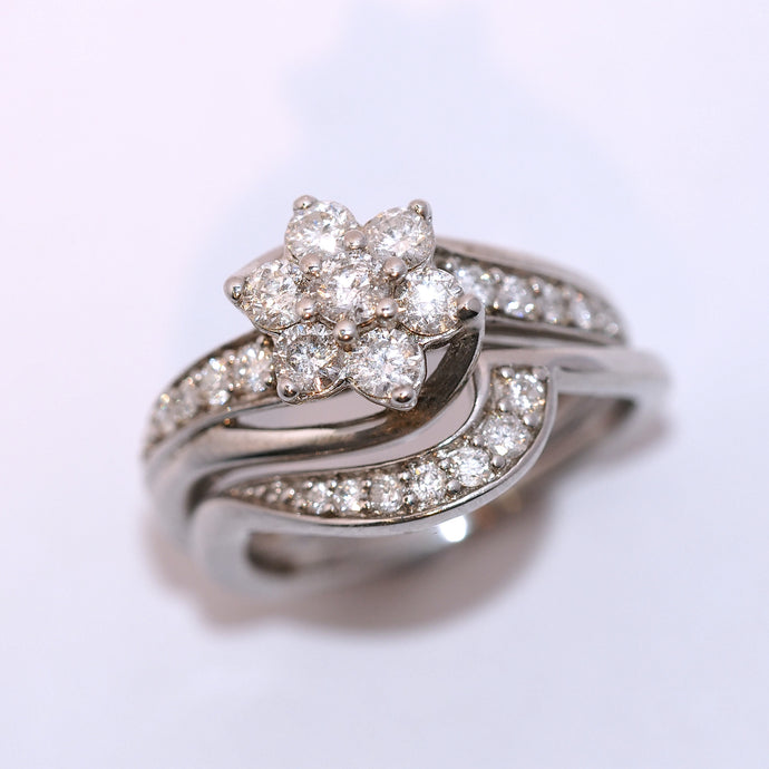 Bridal Set - Flower Twisted Diamond Cluster with fitted wedding ring. - Hallmark Goldsmiths - 1