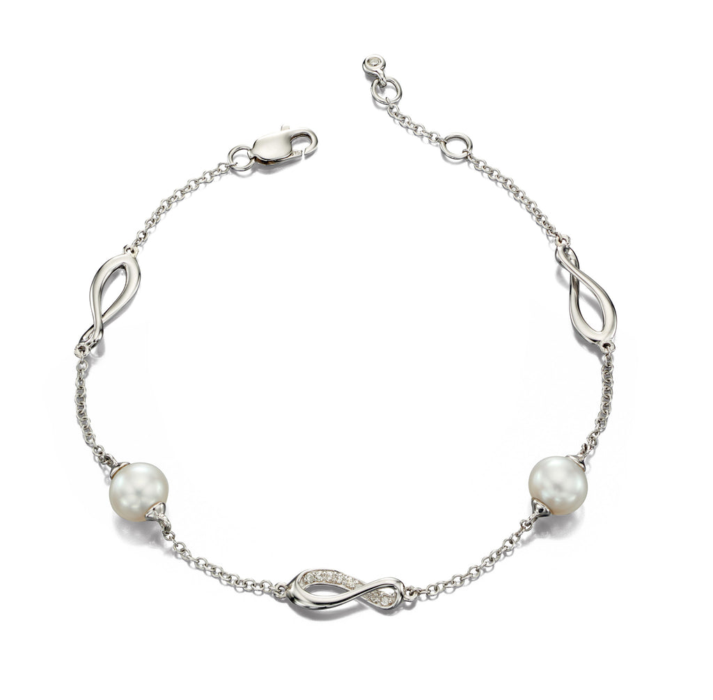 EMBRACE - Pearl and Diamond White Gold Bracelet - Hallmark Goldsmiths