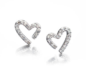 CONTOUR - Diamond Set Heart Stud Earrings - Hallmark Goldsmiths