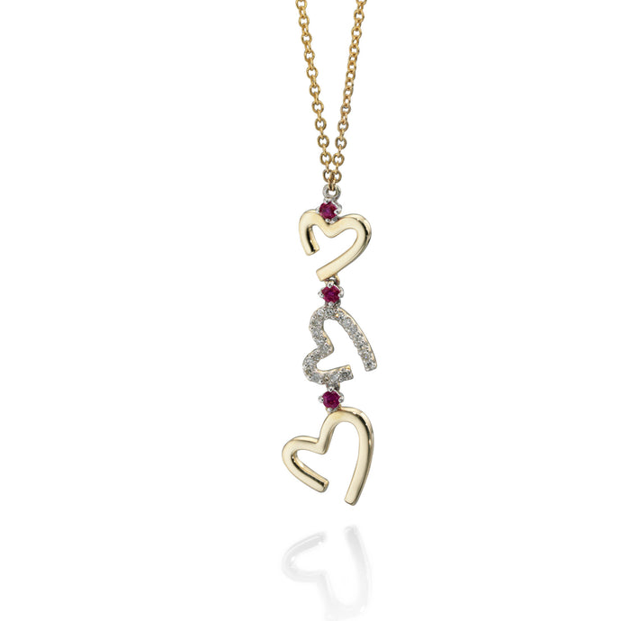 CONTOUR - Diamond and Ruby Heart Pendant - Hallmark Goldsmiths