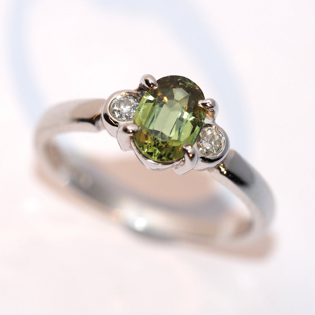 Green Sapphire and Diamond Three Stone - Hallmark Goldsmiths