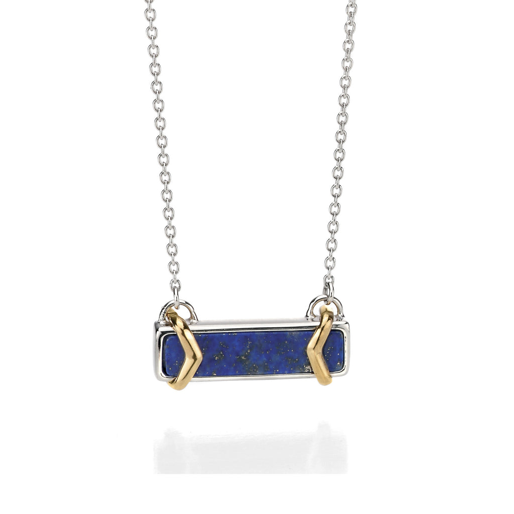 LEADING EDGE - Silver Geometric Lapis Lazuli Necklace - Hallmark Goldsmiths