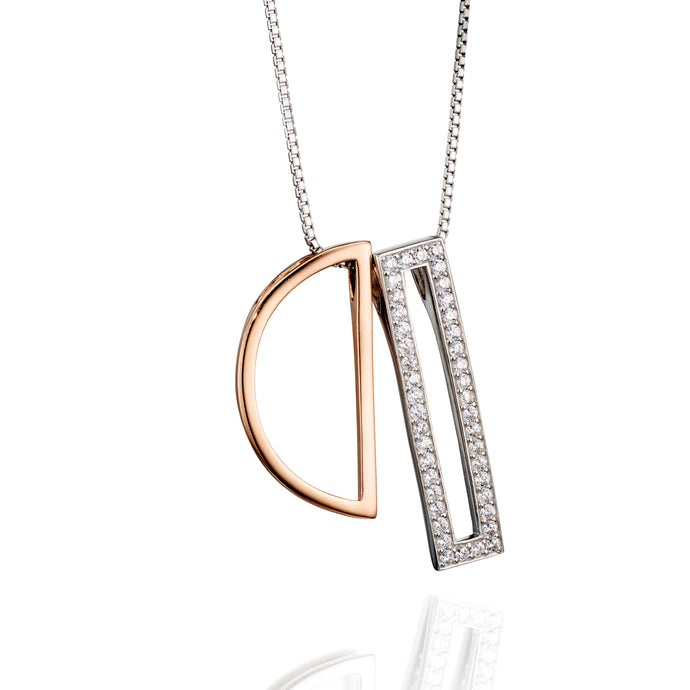 ANOTHER DIMENSION - Silver and Rose Gold Geometric Pendant