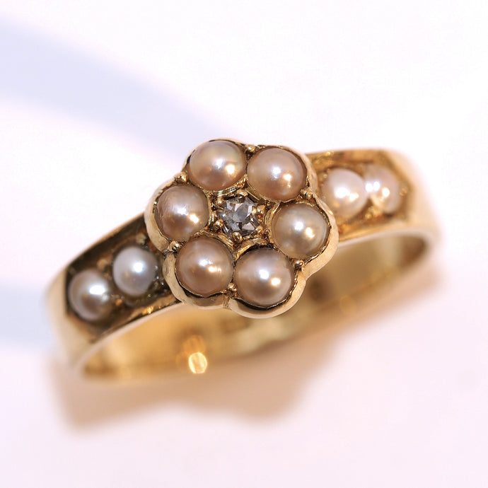 Vintage 18 Carat Diamond and Pearl Flower Ring - Hallmark Goldsmiths
