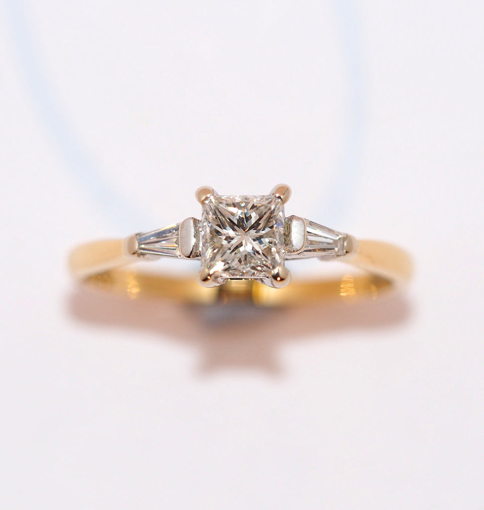 Princess Cut and Tapered Baguette Diamond Ring - Hallmark Goldsmiths - 1