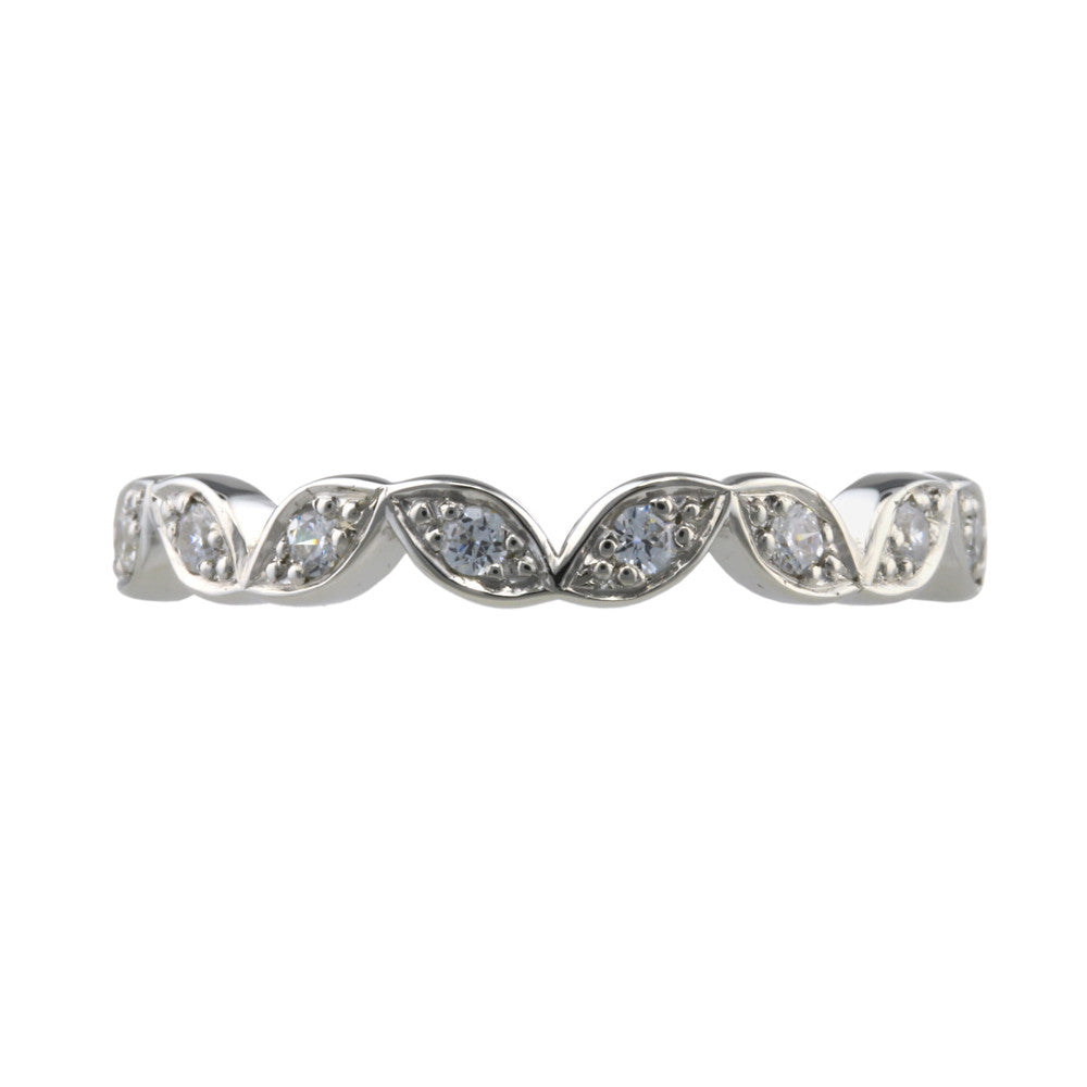Vintage Inspired Diamond Set Shaped Wedding Band - Hallmark Goldsmiths - 2