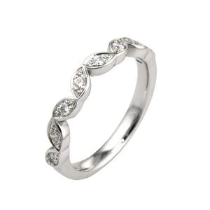 Vintage Inspired Diamond Set Shaped Wedding Band - Hallmark Goldsmiths - 1