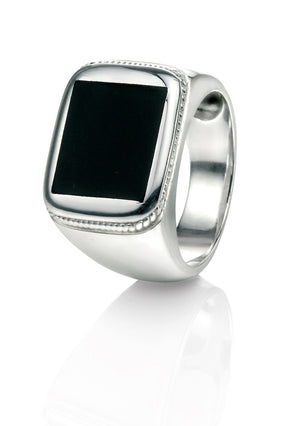 Silver Black Agate Signet Ring