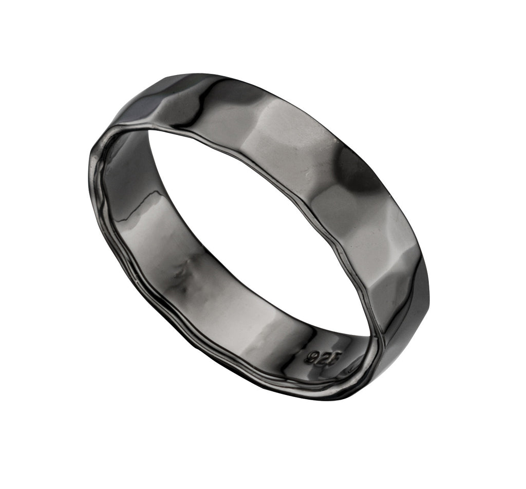 Hammered Finish Oxidised Silver Wedding Band - Hallmark Goldsmiths