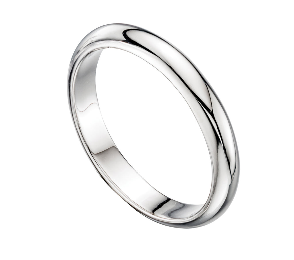 D-Shape 4MM - Silver Wedding Ring - Hallmark Goldsmiths