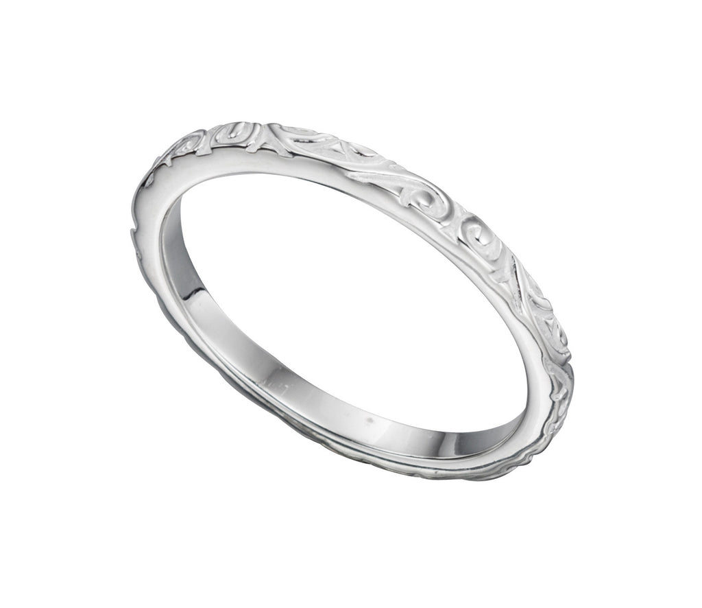 D-SHAPE - Silver Patterned Ring - Hallmark Goldsmiths