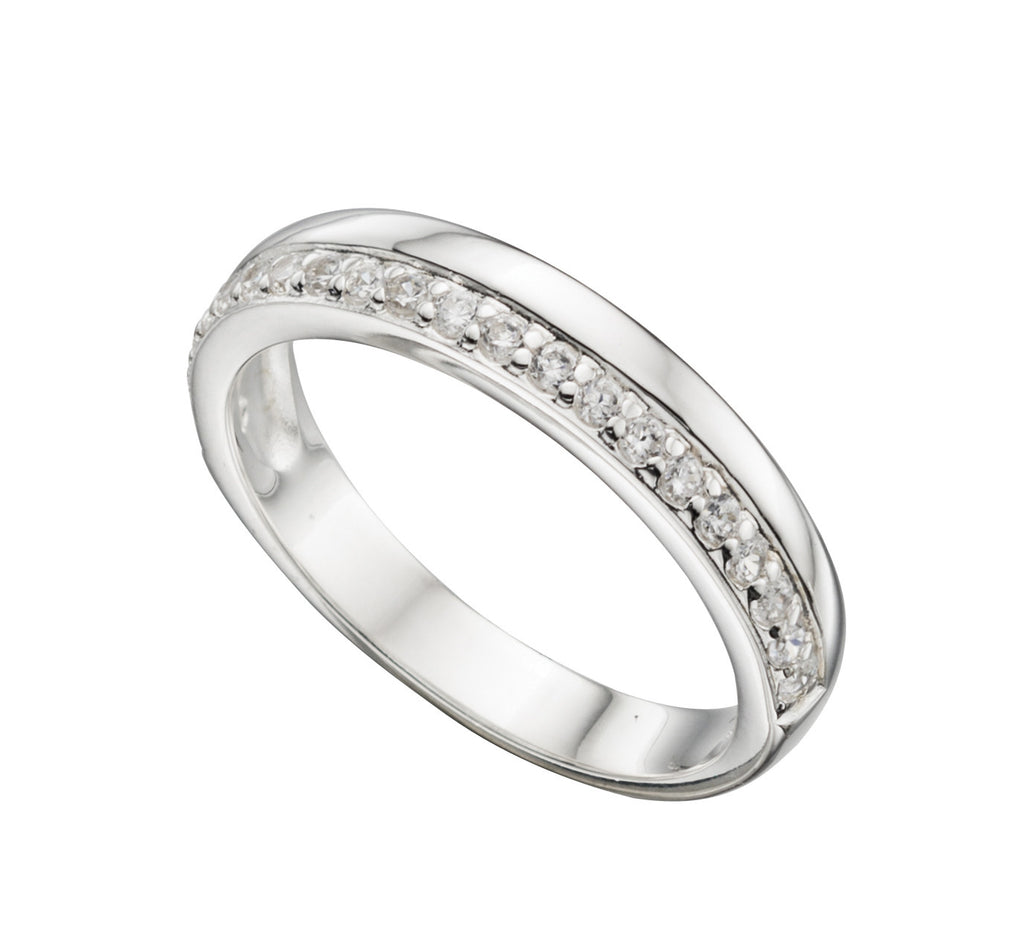 D-Shape Cubic Zirconia Silver Wedding Band - Hallmark Goldsmiths